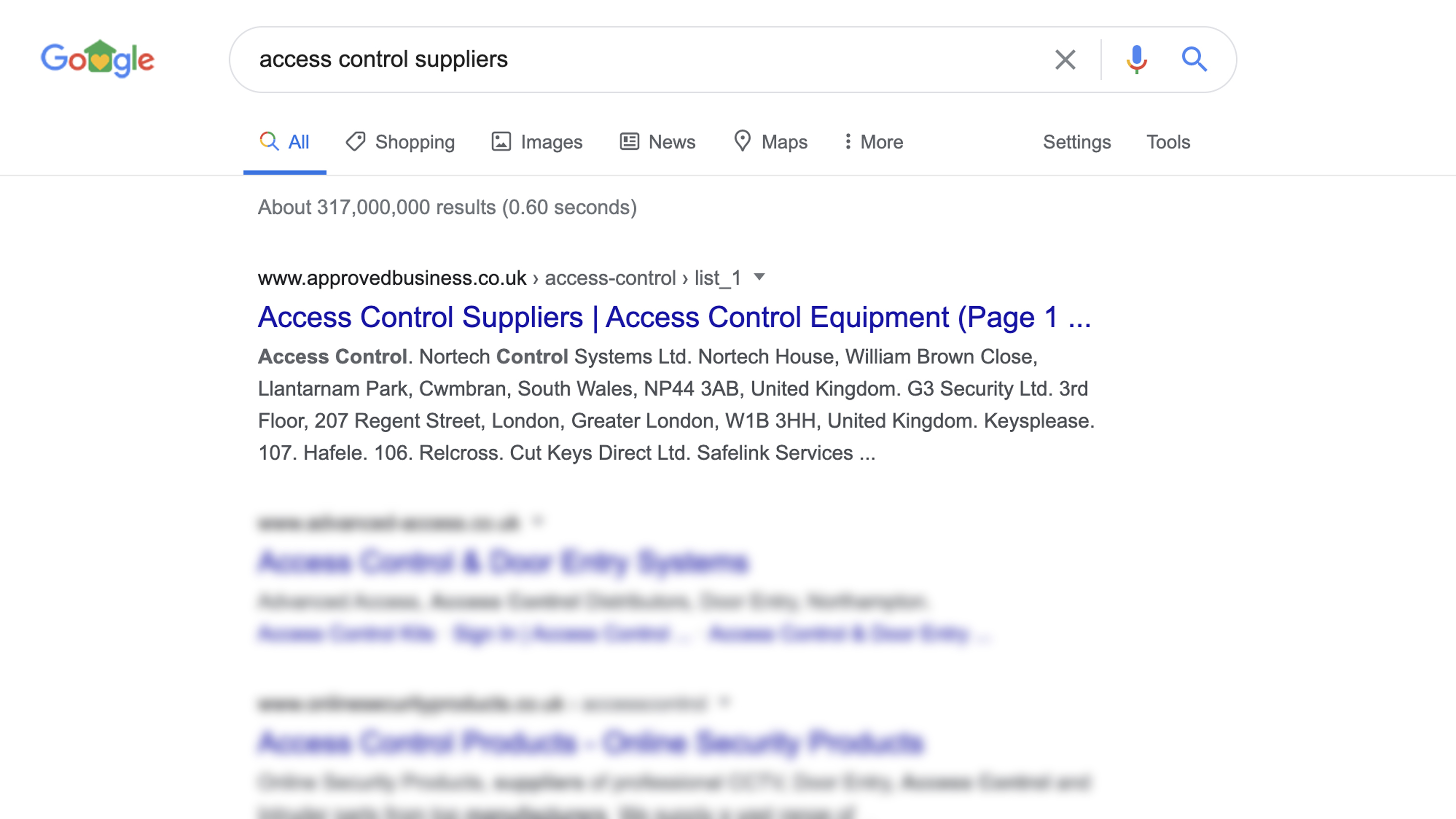 Google screenshot showing access control suppliers
