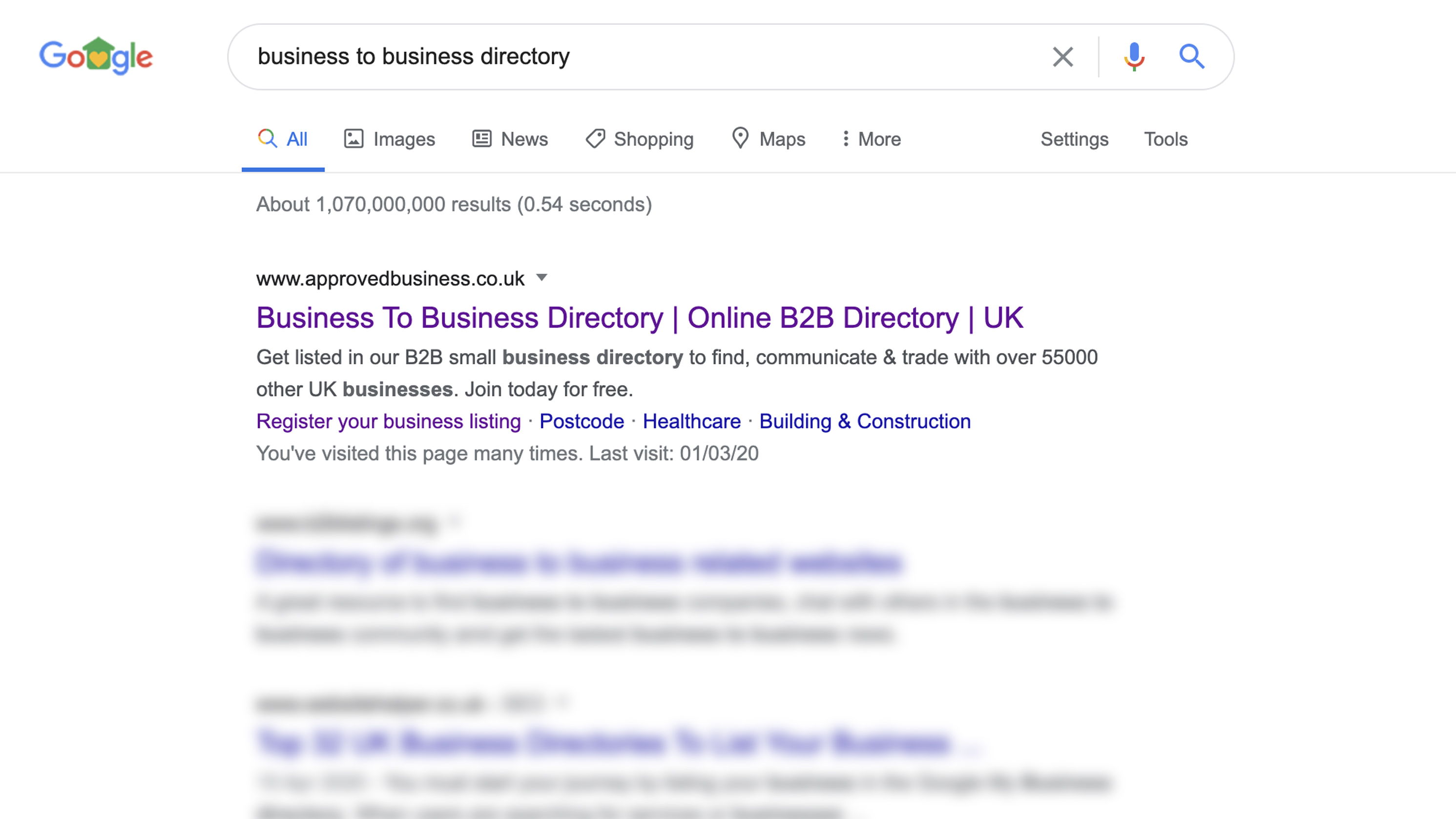 Google screenshot showing business to business directory