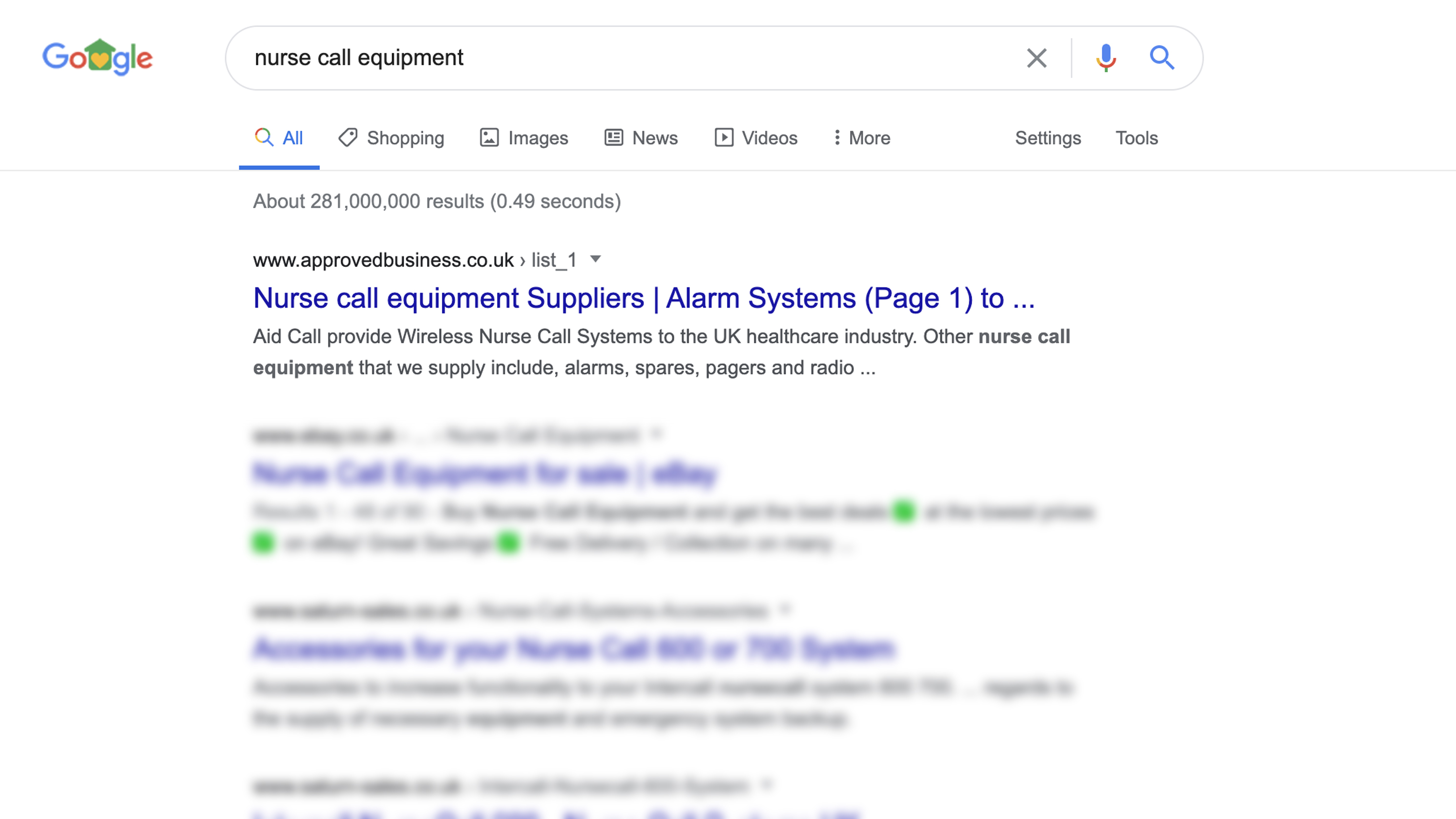 Google screenshot showing nurse call equipment