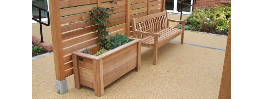 Wooden Benches & Planters