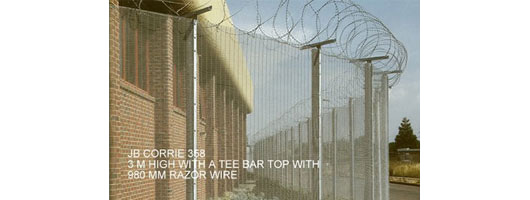 High fence with razor wire