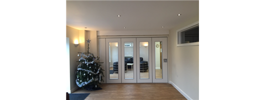 Glass Folding Partitions- Hospice Lounge
