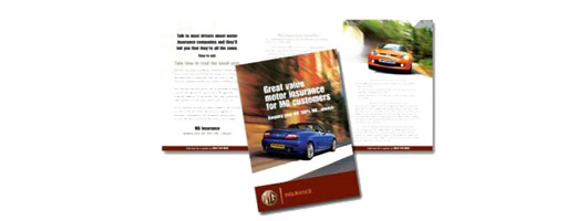 Graphic design insurance leaflet for MG