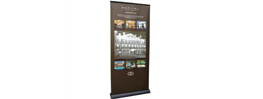 Display graphics roll-up banner stand for Sofitel Hotels
