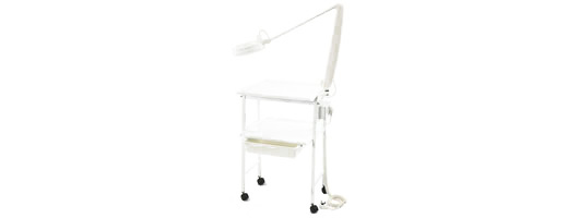 Two Tier Trolley with Plain Drawer, Lamp Bracket with Twin Power Socket and Lamp