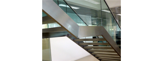 Commercial staircases side view of steel and timber stairs