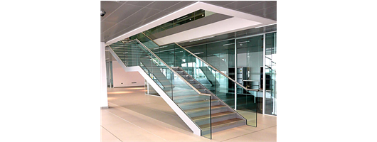 Commercial staircases front view of steel and timber stairs