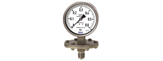 Diaphragm pressure gauge,  stainless steel series, without/with liquid filling,  Model 432.50/433.50