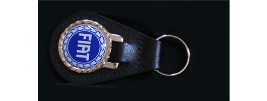 Genuine Leather Fob with Domed Badge