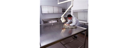 Large stainless steel, height adjustable examination table