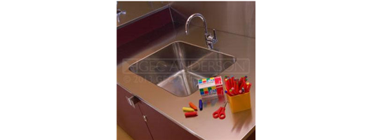 Split level stainless steel sinktops and splashbacks to educational visitor area and baby change units to washrooms
