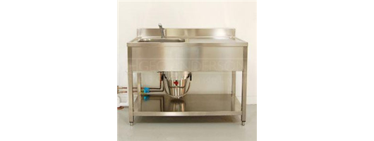 Freestanding sink units for the ceramics studio comprising Decimetric® sink drainer combinations complete with stainless steel frame