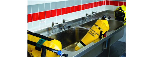 Industrial strength stainless steel sinks for state of the art fire station