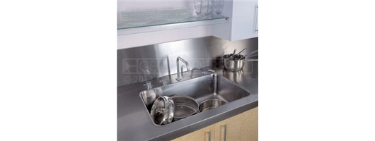5000x700mm continuous stainless steel worktop with large single bowl and square edge