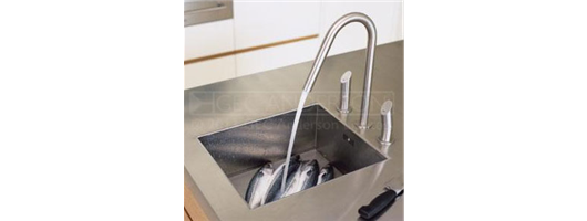 Stainless steel island worktop with square bowl and deep edge