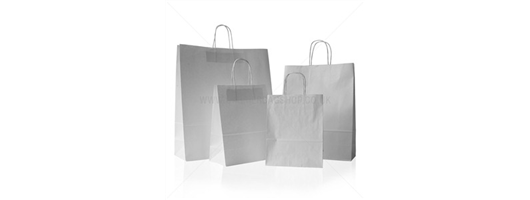 White Twist Paper Carrier Bags