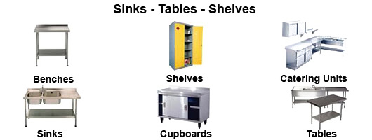 Commercial kitchen sinks, tables and shelves by Millers Catering