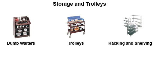 Storage and trolleys by Millers Catering