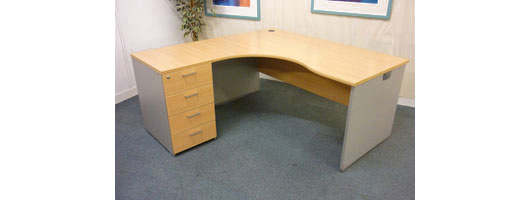 Beech Radial Panel End Desk