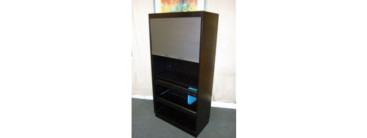 Black Metal High Tambour Cupboards