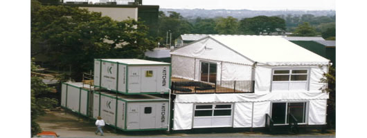 Stacked temporary catering units at Wimbledon, London