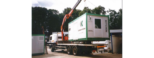 Temporary containers are moved and transported by us using a Hi-ab assisted lorry