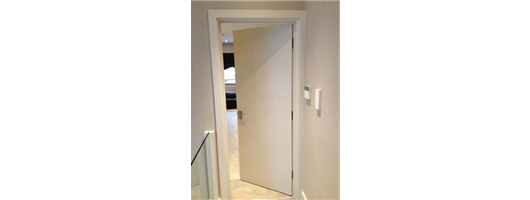 Bespoke internal white door with grooves