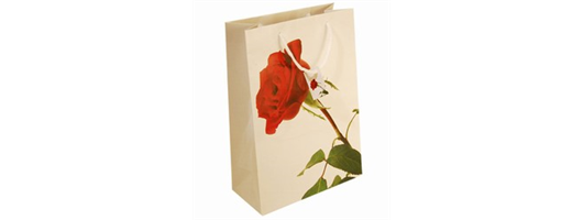 Medium Red Rose Paper Bags with Gift Tag