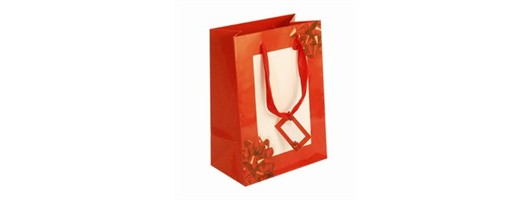 Medium Red Bow Paper Gift Bags with Tag