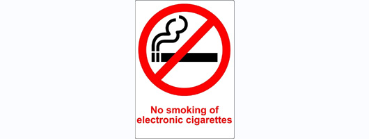 2x TRANSPARENT PLASTIC No Smoking Electronic Cigarettes Signs
