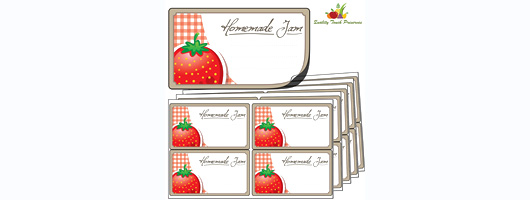 64x Large Strawberry Jam Jar Labels. Luxury Self Adhesive Stickers from Quality Touch Preserves