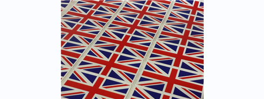 105x High Quality Union Jack British Flag Stickers, Thick Plastic Flag Labels