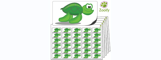 480x Turtle Stickers (38 x 21mm) High Quality Self Adhesive