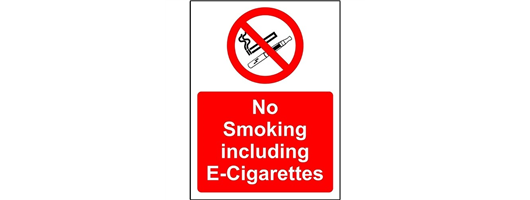 No Smoking Including E-Cigarettes Safety Sign