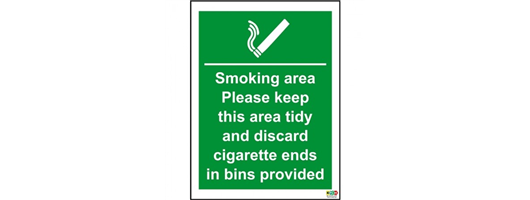 Smoking Area Cigarette Bins Provided