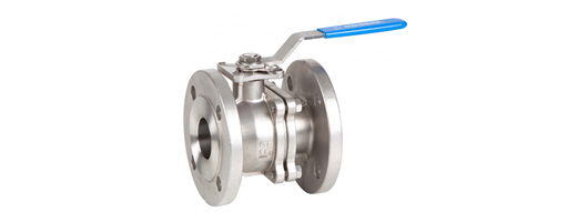 Lever operated 2 way flanged full bore stainless ball valve
