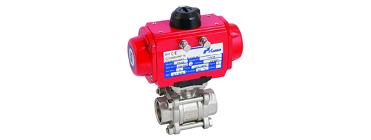 Prisma Aluminium 2 way Air actuated stainless steel ball valve