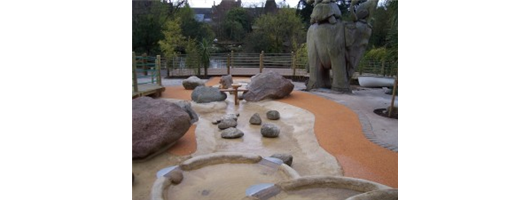 Wet pour rubber in wet play area