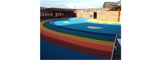 Wet pour rubber school playground