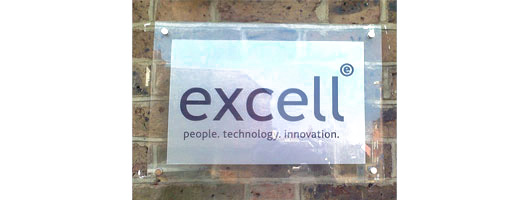 5mm thick acrylic panel with black vinyl text and barrel fixing locators