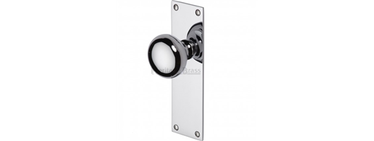 Balmoral Door Knob On Latch Plate Polished Chrome