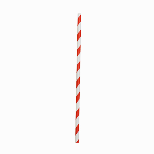 "Biodegradable Red Stripe Paper Straw 20cm (8"")"