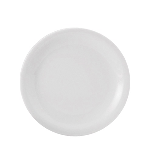 "Porcelain Narrow Rim Plate 9.5"" White"