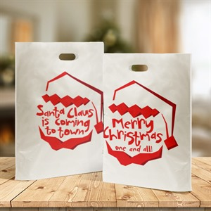Santa Claus Is Coming Design Plastic Carrier Bags