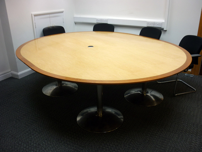 Maple/cherry 2600 x 2200mm nearly round boardroom table (CE)
