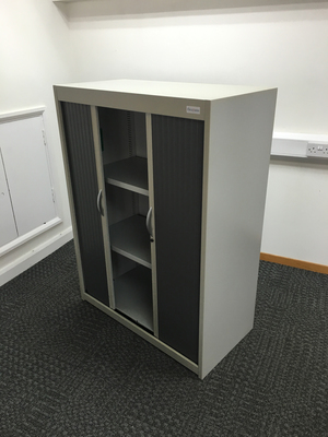 Grey 1350mm high Flexiform tambour cupboards