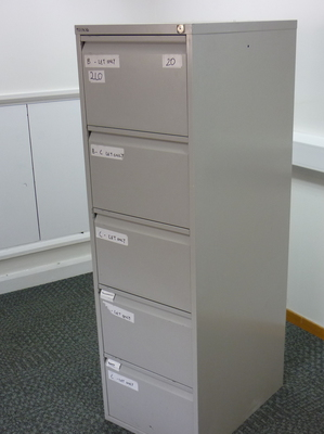 Bisley grey 5 drawer filing cabinets