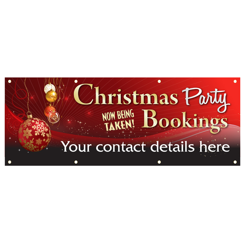 Personalised Christmas Party Bookings Now Being Taken PVC Banner - Red