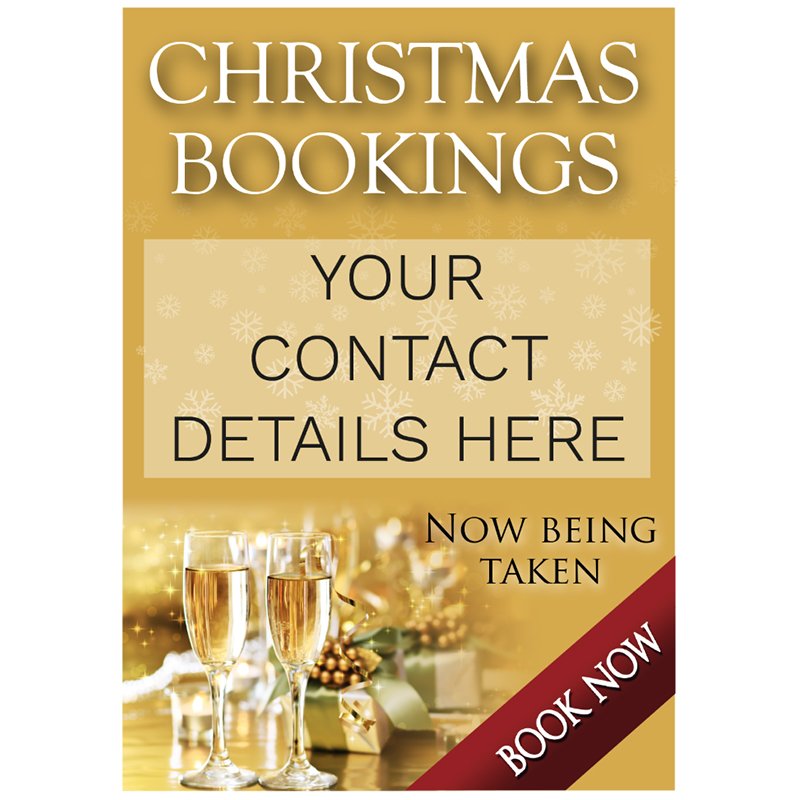 Personalised Christmas Party Bookings Now Being Taken Poster - Gold