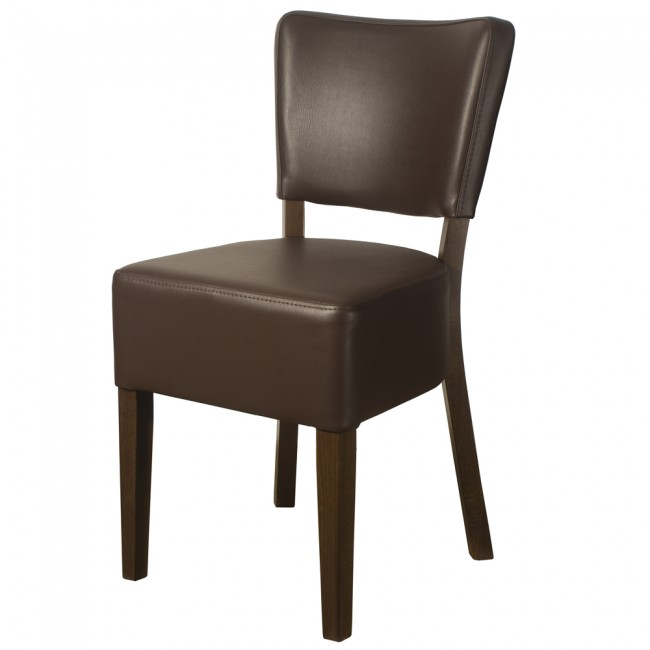 ... Belmont Brown Faux Leather Side Chair